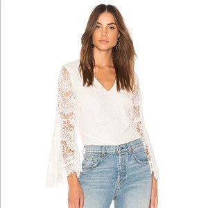 NWT MINKPINK Off White Tainted Love Lace Blouse